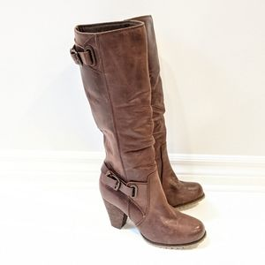 Aldo women's brown leather knee high boots 7.5
